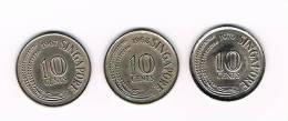 SINGAPORE  3 X 10  CENTS 1967/68/70 - Singapour