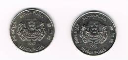 SINGAPORE  2 X 20  CENTS 1987/91 - Singapour