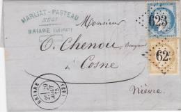Loiret, 1875 Lettre, GC 623 BRIARE,Yv. 55-60 Pour Cosne/1712 - Marcophilie (Lettres)