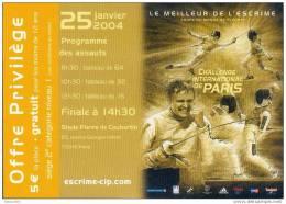 """Bon De Réduction """" Challenge International De Paris """" Escrime Coupe Du Monde De Fleuret - Fencing"""