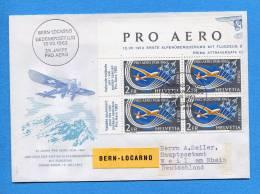 Suisse, Switzerland, Schweiz, FDC 1963, Pro Aero / Bern- Locarno - FDC