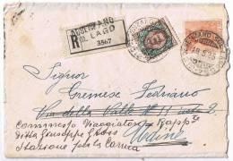 Raccomandata Desenzano-> Carnia Viaggiata 1925 - Storia Postale