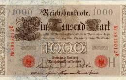 1000 -  Reichsbanknote  - R  B  D  H  -  Nr 5815012E - 1000 Mark