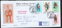 MALTE  1987  Uniformes Militaires  Série Complète Sur FDC - Malta