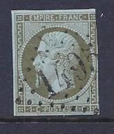 France, Scott # 12 Used Napoleon III, CV$80.00, Clear Margins, No Defects - 1853-1860 Napoleon III