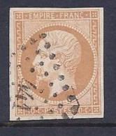 France, Scott # 14 Used Napoleon III, CV$9.00, Very Nice Margins, No Defects - 1853-1860 Napoleon III