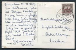 1954 Israel Jordan Jerusalem Citadel Golden Gate Postcard To Sweden - Jordan