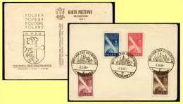 1948 Poland, Wroclaw Expo Philatelic Card Recovered Territory Full Set, Exhibition Cachet - Briefmarkenausstellungen
