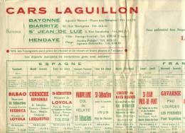 Dépliant Cars Laguillon Bordeaux Bayonne Biarritz - Publicités