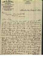 Entête  02/01/1894  -  HAMILTON  ( Canada ) Vers  COGNAC  -  W.G. REID  Courtier  -  En Anglais - Canada