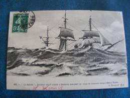 CP..LA NAIADE..CROISEUR 2° CLASSE A BATTERIE ESSUYANT UN COUP DE MAUVAIS TEMPS DANS L OCEAN.. 1908 - Guerre