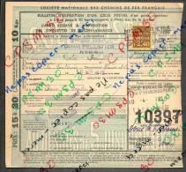 Colis Postaux Bulletin D´expédition 15.20fr Timbre 2.40fr N° 10397 Cachet Gare S.N.C.F. NICE Bureau De Ville - Cartas