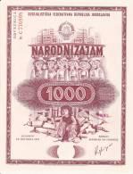 JUGOSLAVIJA  -  NARODNI ZAJAM ZA OBNOVU I IZGRADNJU SKOPLJA  -  MACEDONIA  - 1963  -   1000 DIN.  --  OBLIGATION - Hist. Wertpapiere - Nonvaleurs