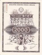 JUGOSLAVIJA  -  NARODNI ZAJAM ZA OBNOVU I IZGRADNJU SKOPLJA  -  MACEDONIA  - 1963  -   2000 DIN.  --  OBLIGATION - Ohne Zuordnung