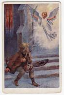 ANGELS J. FISCHER BOY AND ANGEL Nr. 629-2 OLD POSTCARD - Angels