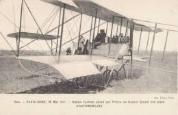 PARIS-ROME BIPLAN FARMAN PILOTE PAR PRINCE DE NYSSOL FAISANT SON PLEIN D´AUTOMOBILINE AVIATION - ....-1914: Précurseurs
