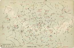 RARE CPA : CARTE GEOGRAPHIQUE DU CIEL ASTRONOMIE ETOILES CONSTELLATION COSMOLOGIE - Sterrenkunde