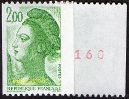 France Liberté De Gandon N° 2487 A ** Le 2.00 F Vert De Roulette N° Rouge Au Verso - 1982-90 Liberté De Gandon