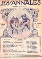 LES ANNALES N°1549 Du 2/03/1913. La Maison Des Carmes, Mi-Carême, Le Masque. - General Issues