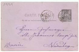 PARIS AV. DUQUESNE Sur ENTIER SAGE Pour L'ALLEMAGNE. - Marcophilie (Lettres)