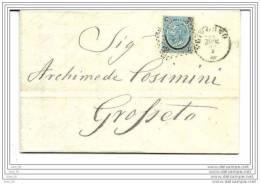 LOTTO LOT  20 CENTESIMI FERRO DI CAVALLO II TIPO LIVORNO PER GROSSETO 22 NOVEMBRE 1866 - 1861-78 Vittorio Emanuele II