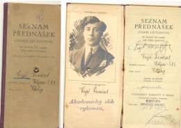 PRAHA -UNIVERSITY KARLOVY INDEX LECTIONUM VALJEVO SHS  Valjevski Student 1924 ) Karlov Univerzitet Prag 21,5 X 10 Cm - Diploma & School Reports