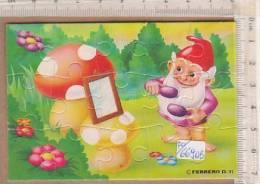 PO6690B# PUZZLE KINDER FERRERO 1991 - NANI AL BAGNO ESTERNO CON CARTINA /FUNGHI - Puzzles