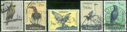 ANGOLA, 1951, UCCELLI, BIRDS, FRANCOBOLLO NUOVO (MLH*), Scott 338,340,342,343,346 - Angola