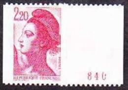 France Roulette N° 2379 A ** Liberté De Gandon - Le 2f.20 Rouge Numéro Rouge Au Verso Au Type A - Rollen