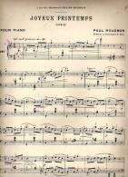 Partition Très Ancienne: Joyeux Printemps, Caprice, Pour Piano, Par Paul Rougnon. - Scores & Partitions