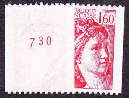 France Sabine De Gandon N° 2158 A ** Le1.60 Fr Rouge De Roulette N° Rouge Au Verso - 1977-81 Sabine Of Gandon