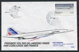 1976 Brazil Rio De Janeiro - Paris Air France Concorde Flight Cover - Concorde