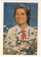 02877 Pioneer Cotton-picker Socialist Realism USSR Old PC - Tadjikistan
