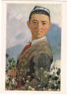 02277 Pioneer Cotton-picker Socialist Realism USSR Old PC - Tajikistan