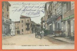 Q498, Noirétable, Place Et Mairie, Calèche, Pharmacie, Café Du Centre, Café Morel, Circulée 1908 - Noiretable