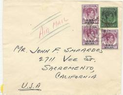 1947 B M A Malaya Brief Nach Sacremento California - Territoire Britannique De L'Océan Indien