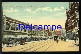 1915  McQuade Lowell, Massachusetts, MA, Postcard, New Bradley Building & Central Street, Trolley USA Stamp Timbre - Etats-Unis
