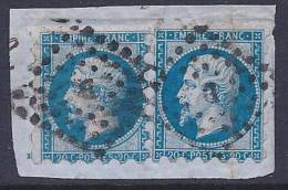 France, Scott # 15d Used Pair Susse Perforation Napoleon III, 1860, Gros Points Cancel With D, One Stamp Creased - 1853-1860 Napoléon III