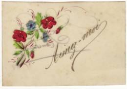 IMAGE En Celluloid Aimez-moi Fleurs Des Champs En Relief En Tissu Coquelicots Bleuets - Vieux Papiers