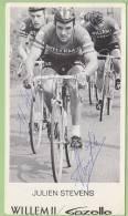 Julien STEVENS,  Autographe Manuscrit, Dédicace. 2 Scans. Willem II Gazelle - Cycling