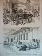 Alger , Surla Terrasse Du Grand Café , Aux Abords De La Gare Terminus, Gravure D'aprés Gillot 1889 - Documents Historiques