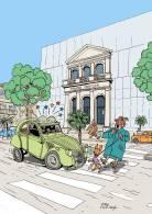 Série Un Peu Comme Une Bande Déssinée Voitures Des Années 60  La 2 CV De Tintin - La 4 L- La 403 Peugeot Draguignan 83 - Bandes Dessinées