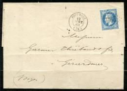 France N 29B Sur Lettre Cachet Pont Remy Du 12 Janvier 1869 - Marcofilia (sobres)