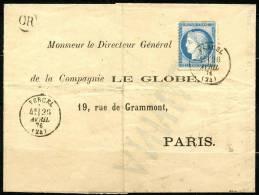 France N 60 Sur Lettre Petit Cachet Rond Vercel Du 26 Avril 1876 + Or - Other