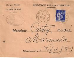 LETTRE .  CONVOYEUR LIGNE... MARMANDE  à  BERGERAC .IND 3.  T III..1938 .  TBE - Spoorwegpost