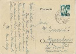 Germany Baden 1948 Picture Postcard From Iffezheim To Heppenheim Franked With 12 Pf. Johann Peter Hebel - Zone Française
