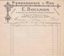 FACTURE FERRONERIE D´ART, FABRICANT DE LANTERNES, LUSTRES ET SUSPENSIONS  BOULNOIS, 1891, PARIS - Francia