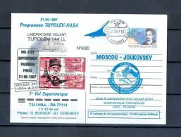 FRANCE VOL-TEST 21.05.1997 PROGRAMME TUPOLEV- NASA  1 Er VOL SUPERSONIQUE 144 LL  BLOCS 4 DE GAULLE  N° 6 / 20 - Covers & Documents