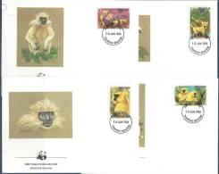 1984 BHOUTAN 621-24 WWF, Singes, FDC - Bhutan