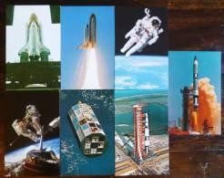 7 CARTES : KENEDY SPACE CENTRER NASA FUSEE APOLLO SATURN-V CHALLENGER GEMINI-TITAN 4 ASTRONAUTE McCANDLESS ESPACE - Espace